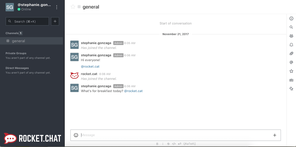 Rocket Chat Screenshot Examples & Demo Videos | Zapier