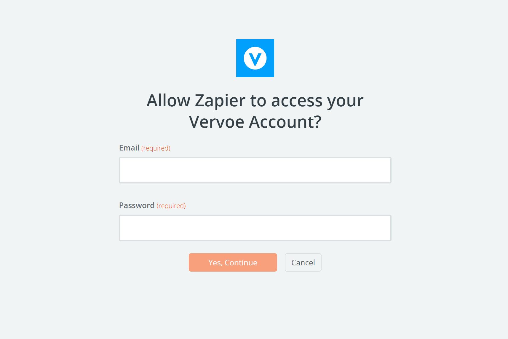 Vervoe username and password