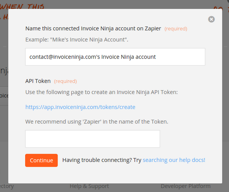 Invoice Ninja API Token