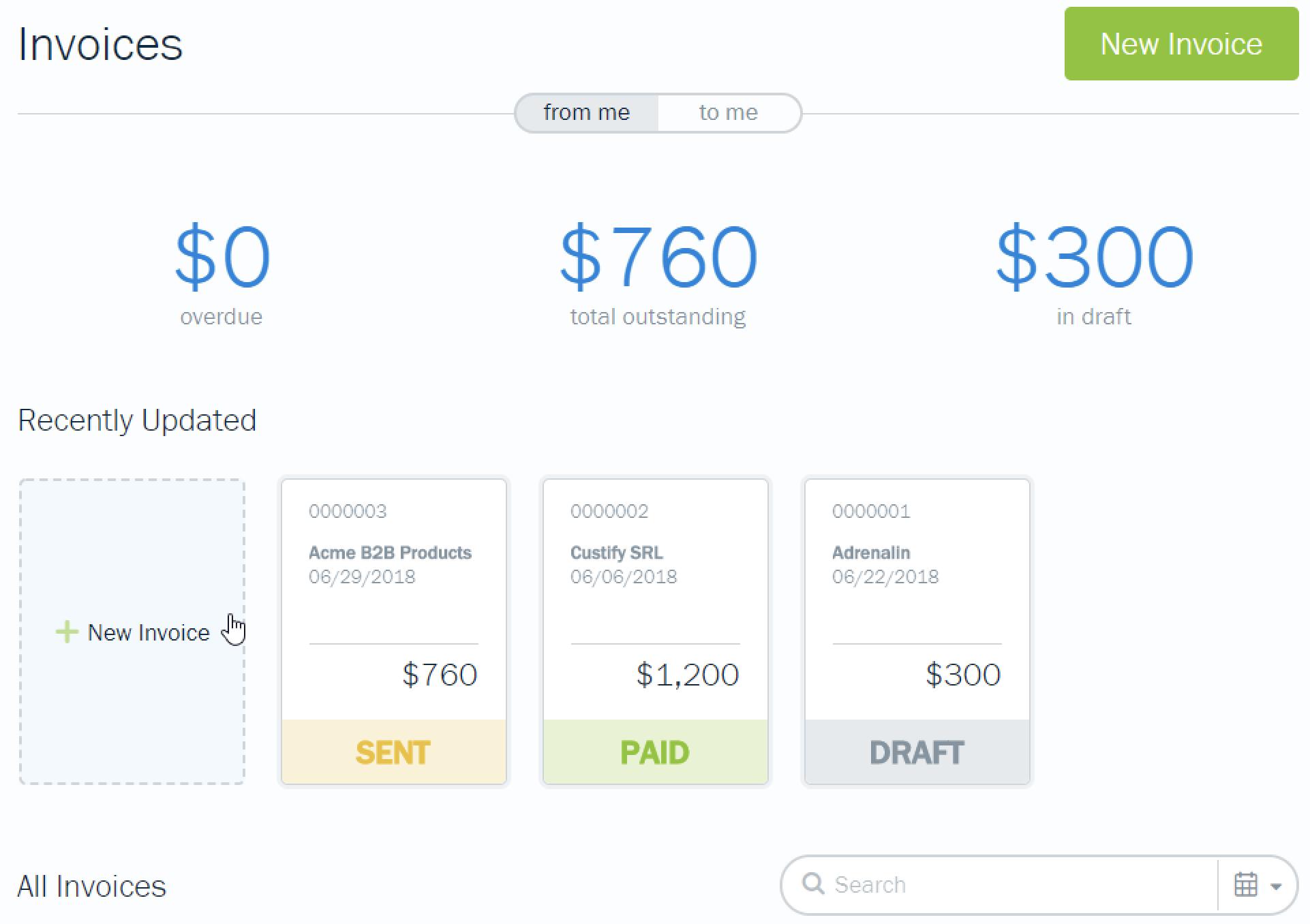 FreshBooks invoicing screenshot