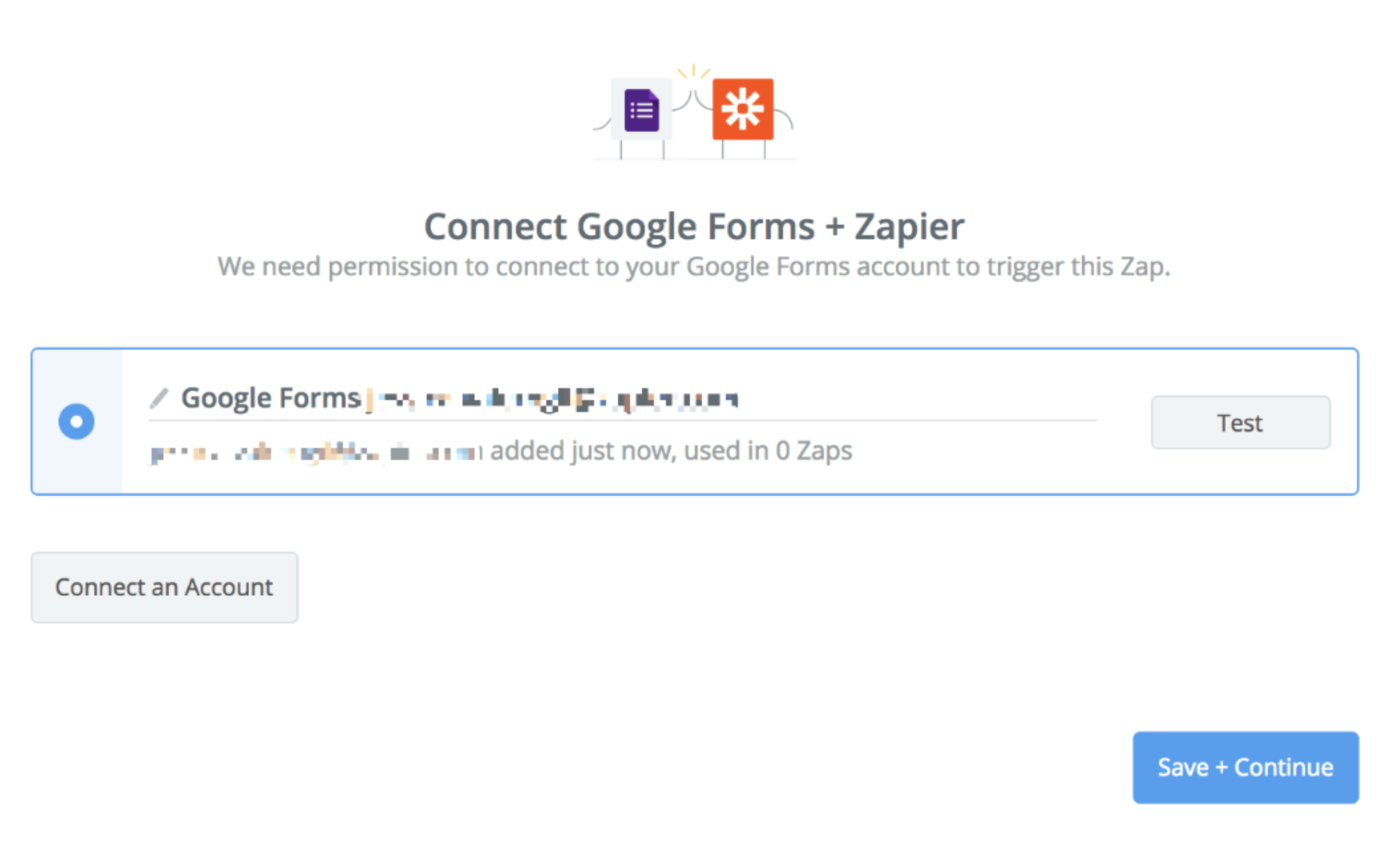 Google Forms connection successfull