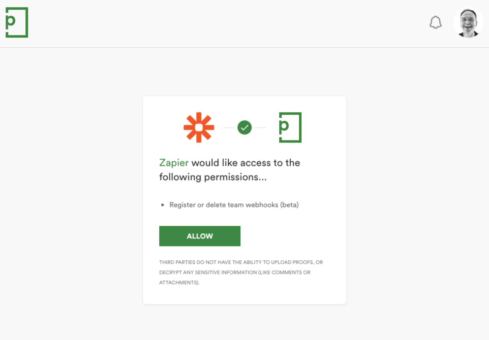 Authorize  PageProof on Zapier