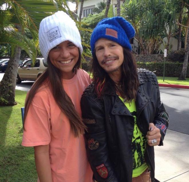 Aerosmith's Steven Tyler with a Love Your Melon ambassador.