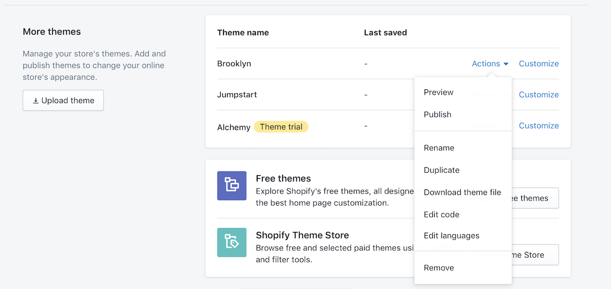 how to delete theme in shopify