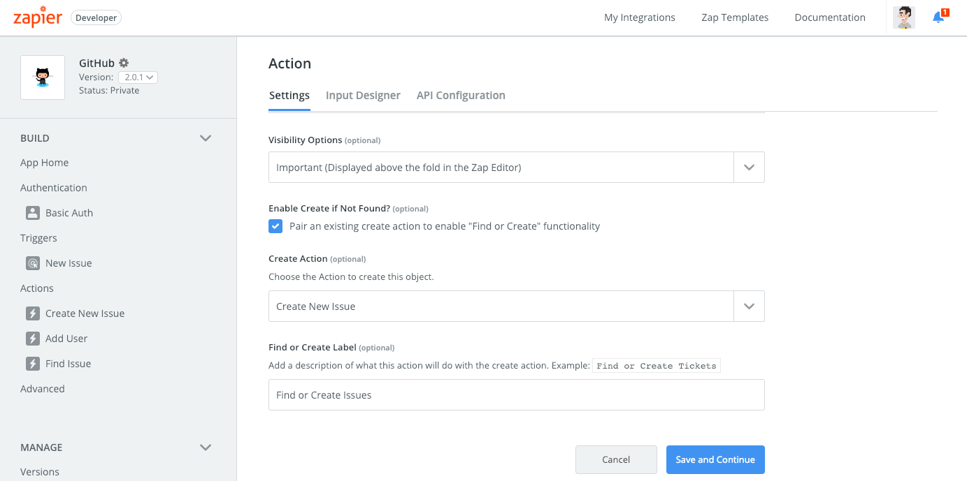 Zapier Search action settings