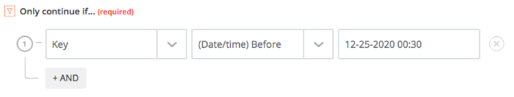 """Shows a filter with the configuration """"Only continue if field before 12-25-2020 00:30"""""""