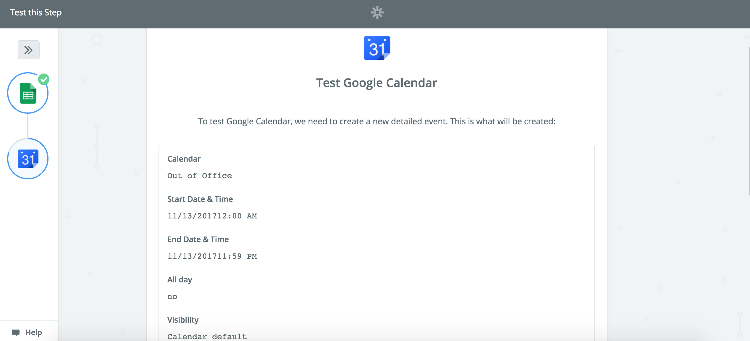 View the Google Calendar event information