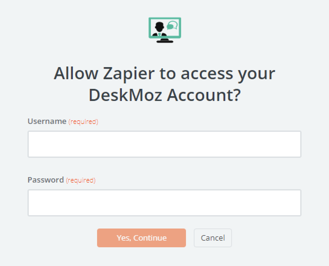 DeskMoz username and password