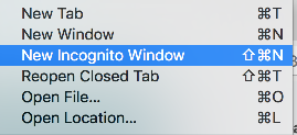 Incognito window example