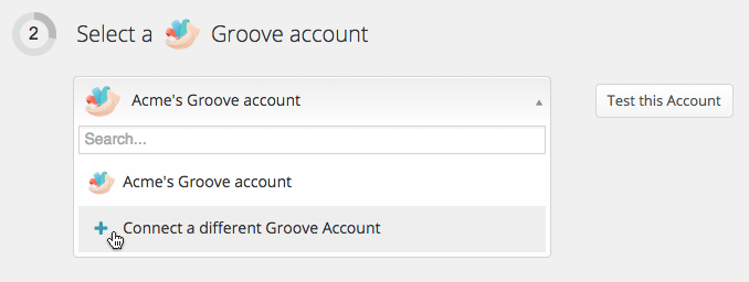 Dropdown list of connected Groove accounts during Zap creation
