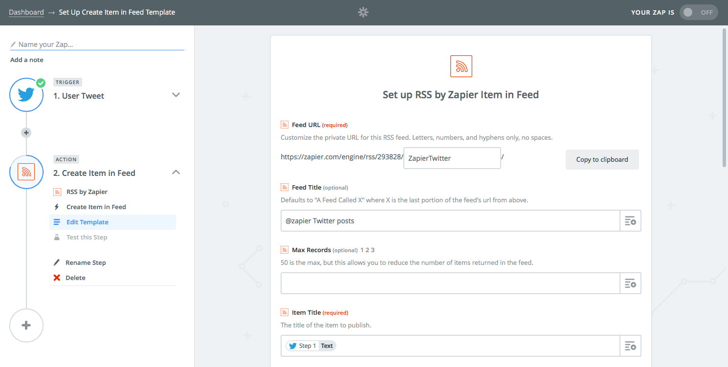 Zapier RSS feed for Twitter