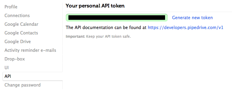 Grab your Pipedrive API Key