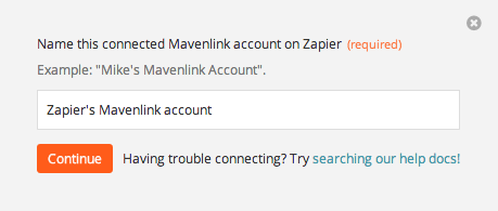 Name the Mavenlink account inside Zapier