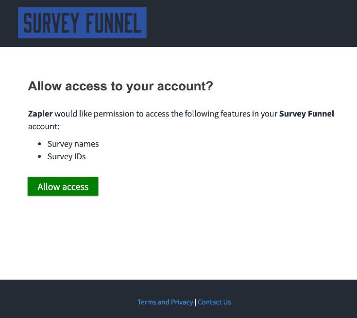 Authorize Survey Funnel' on Zapier