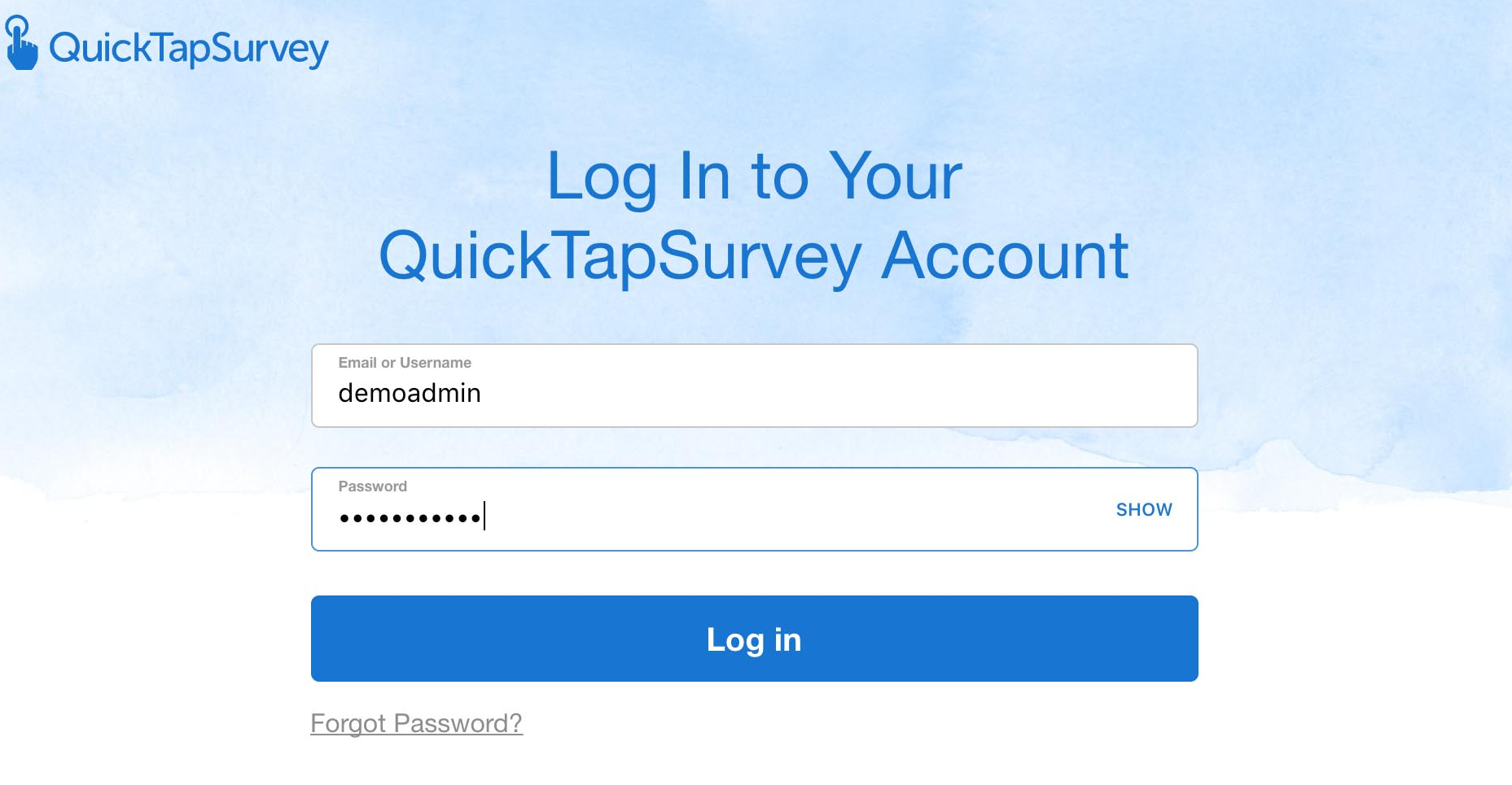 Login to QuickTapSurvey