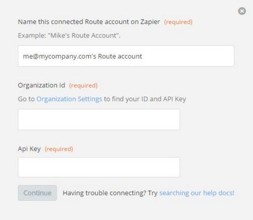 Route Organization ID and API Key