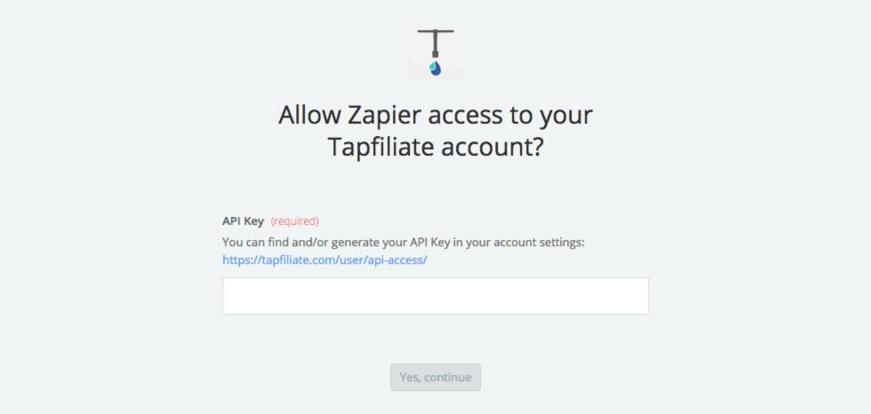 Tapfiliate API Key