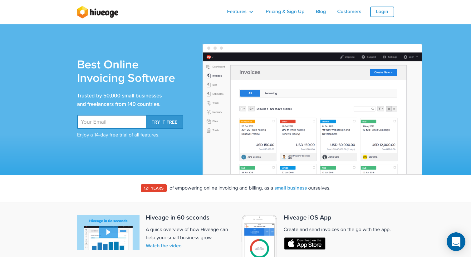 Hiveage Features Pricing Alternatives And More Zapier - Online invoicing software