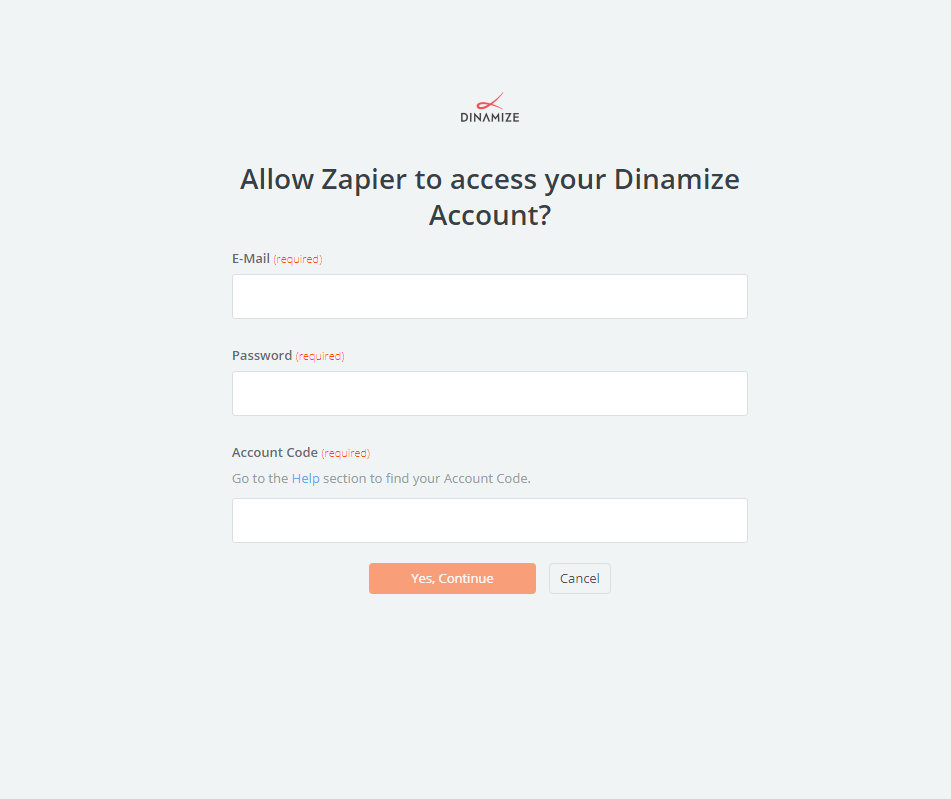 Dinamize username and password