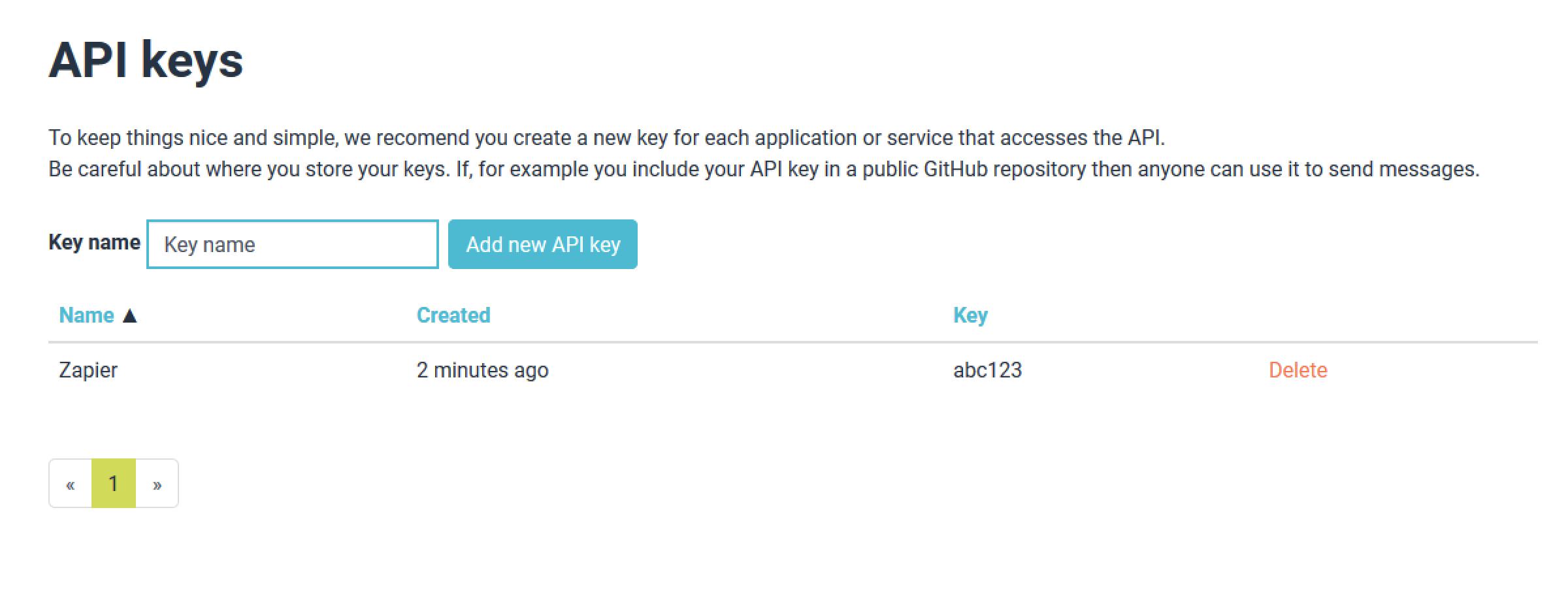 Clockwork SMS API Key in account