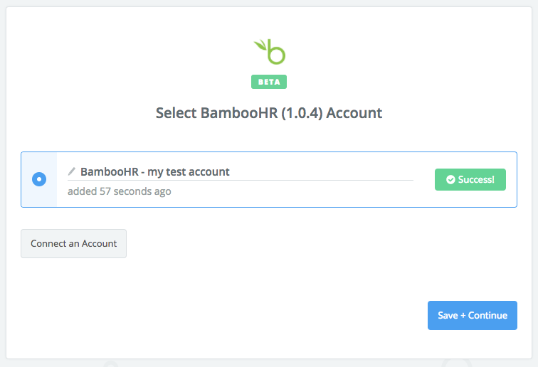 BambooHR connection successful