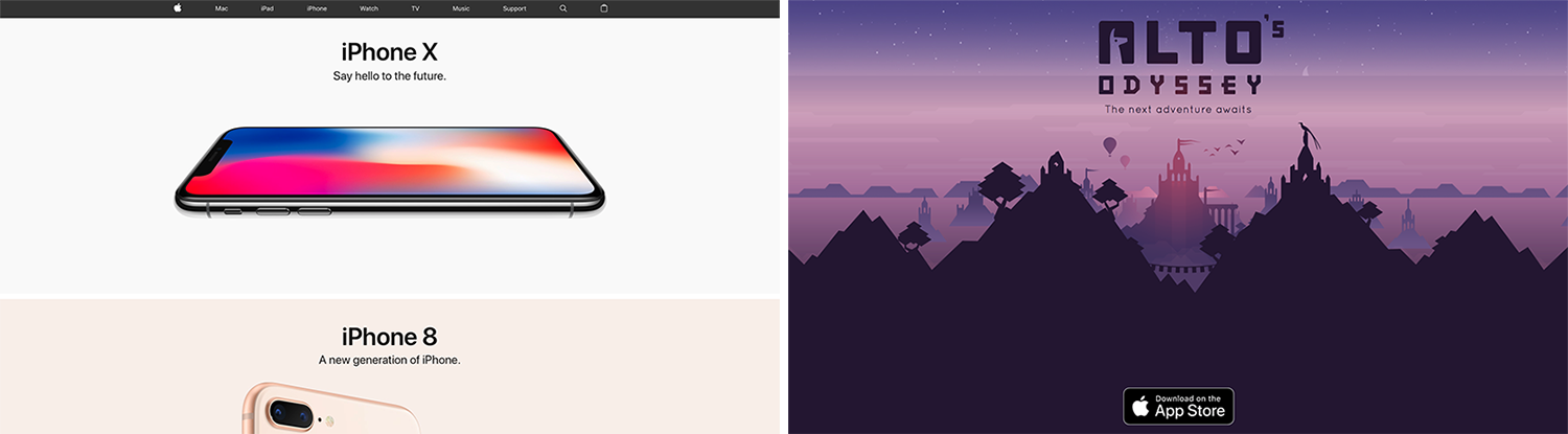 Apple and Alto's Adventure Landing Pages