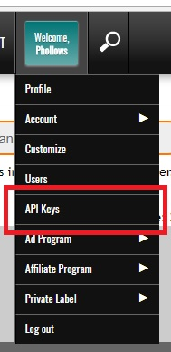 FeedBlitz API Key in account