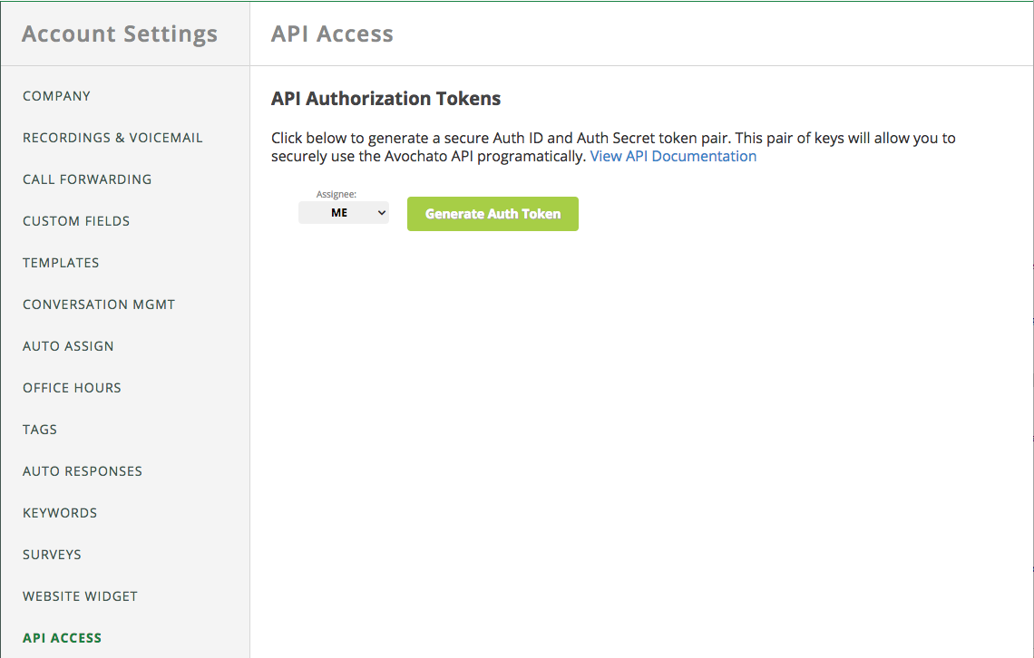 Avochato API Key in account