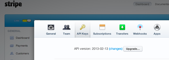 Stripe API tab
