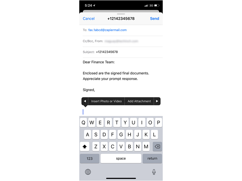 iPhone Email to Fax