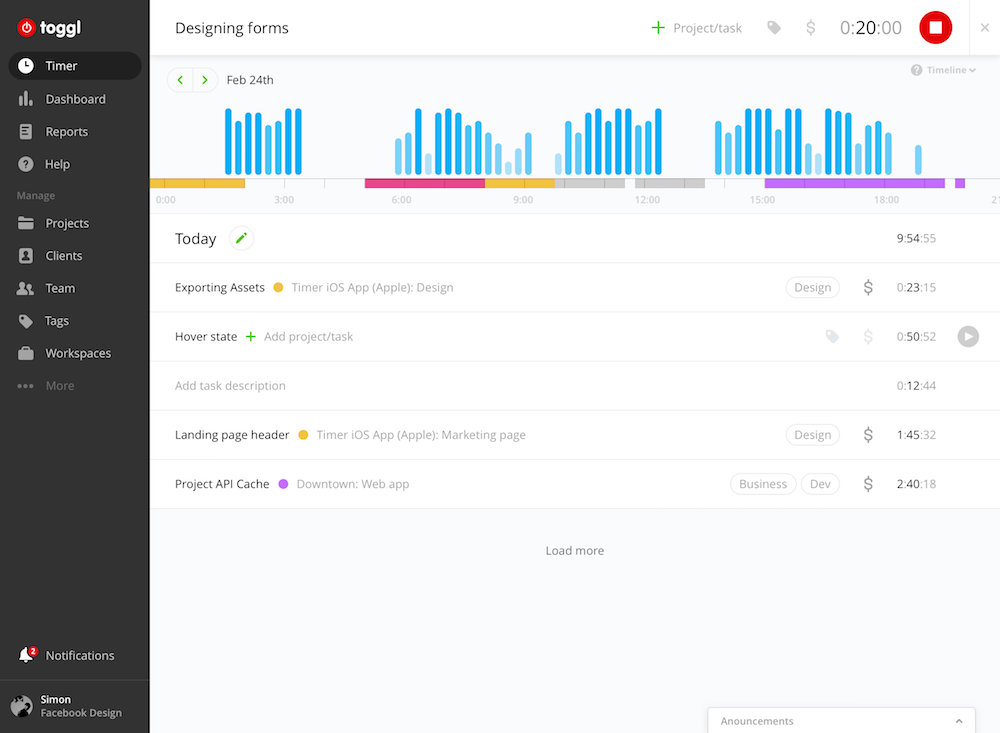 Toggl offers powerful time-tracking with integrations