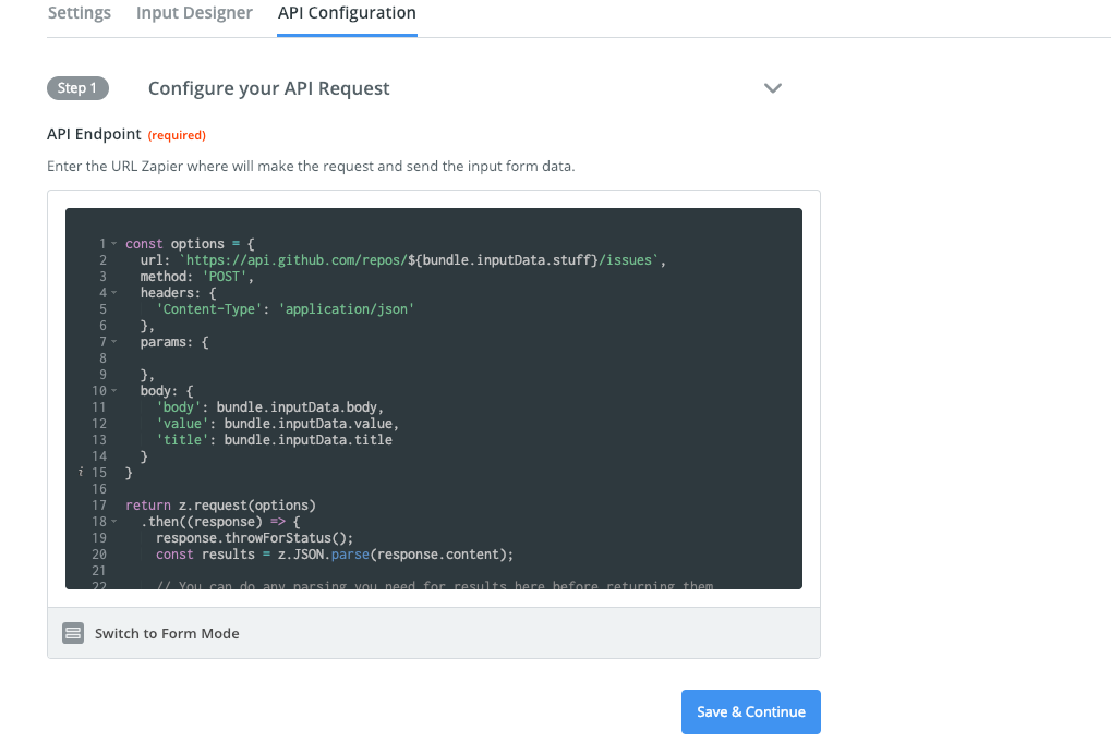 Zapier visual builder code mode
