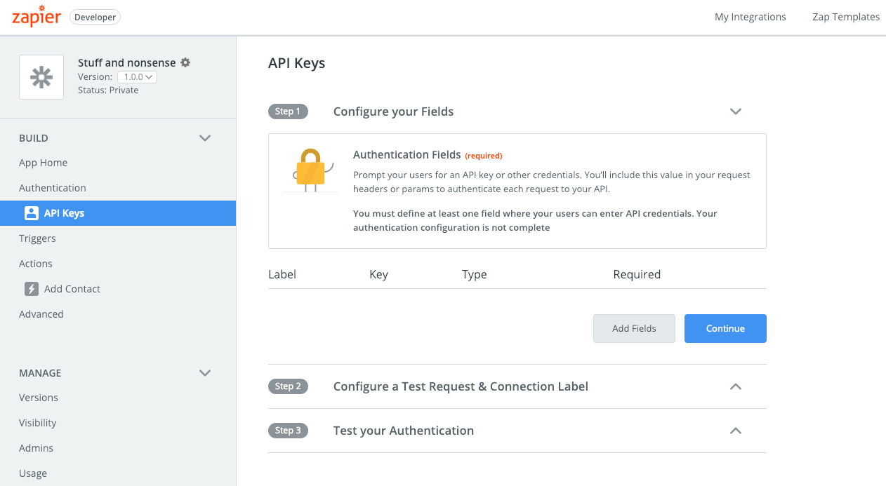 Add fields to API key auth Zapier