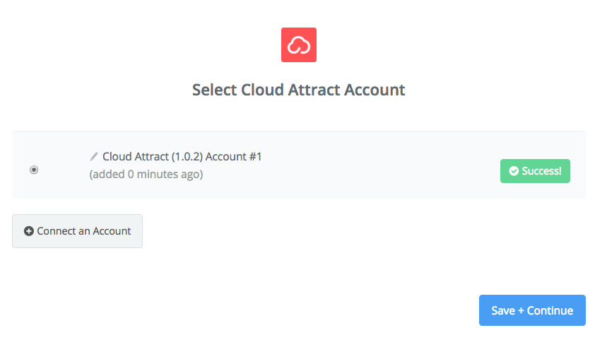 Cloud Attract connection successfull
