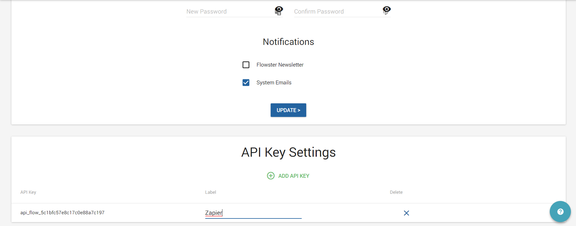 Flowster API Key in account