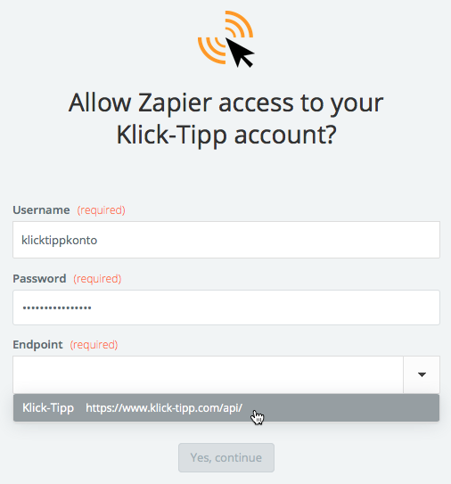 Klick-Tipp username and password