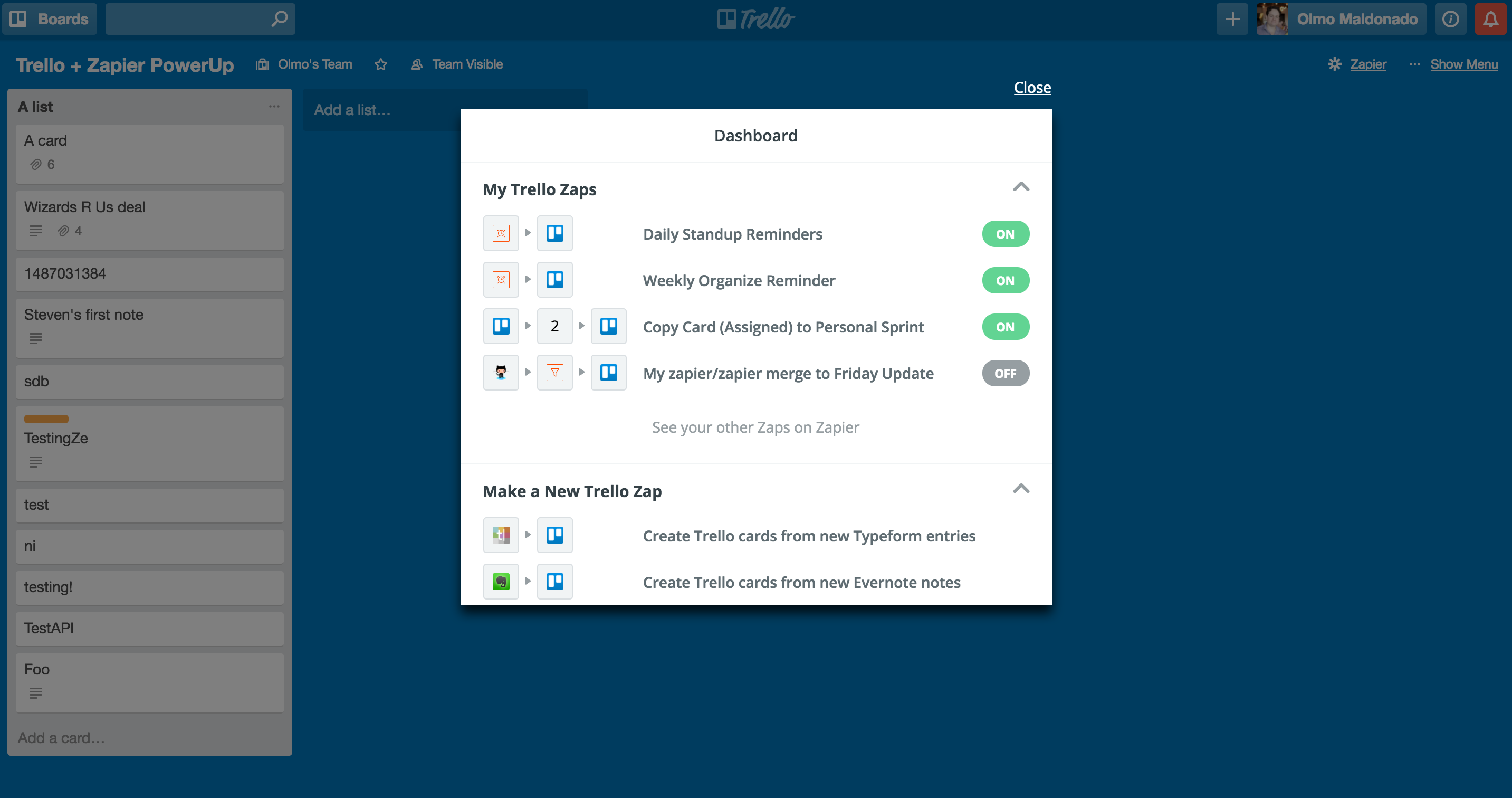 Trello PowerUp shows Zapier Zaps