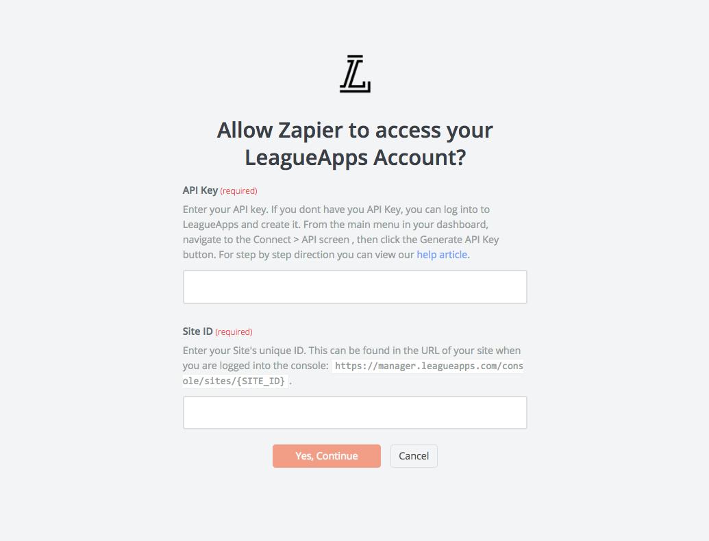 LeagueApps API Key