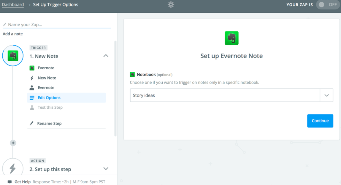 Evernote to Google Sheets integration on Zapier