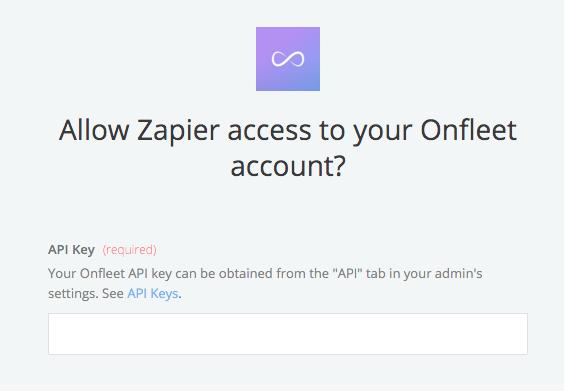 Onfleet API Key