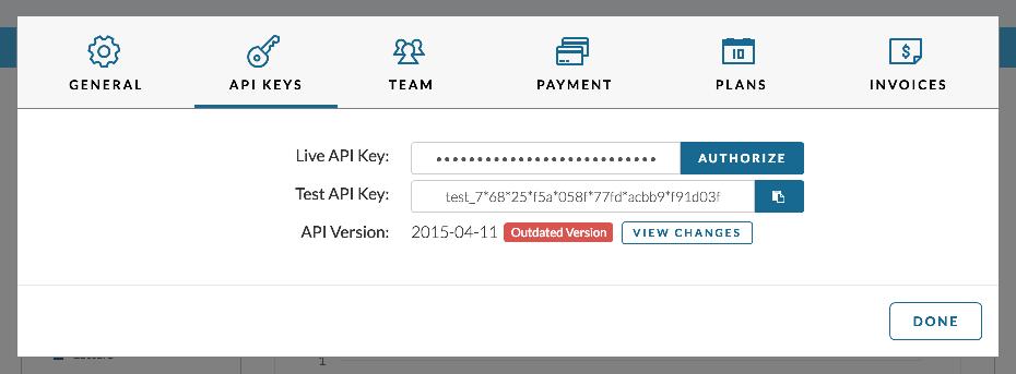 Lob API Key in APP account