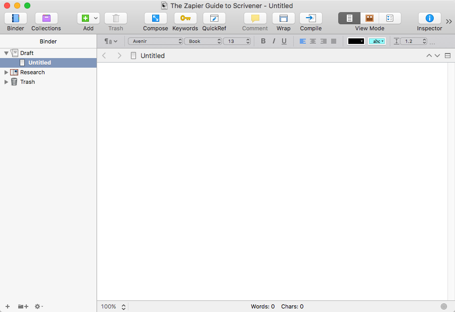 New Blank Scrivener Document