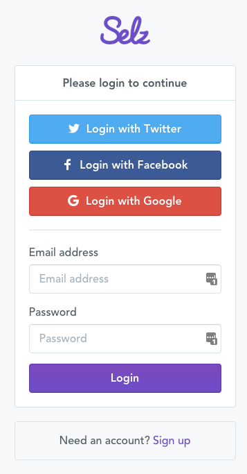 Authorize Selz on Zapier