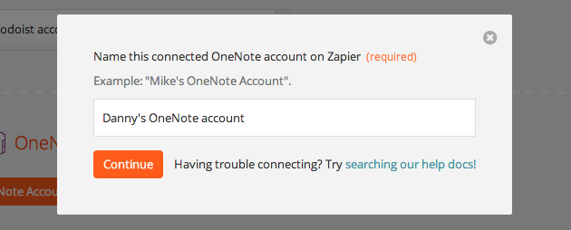Give your OneNote account a title.