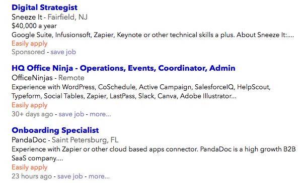 job listings requiring Zapier knowledge