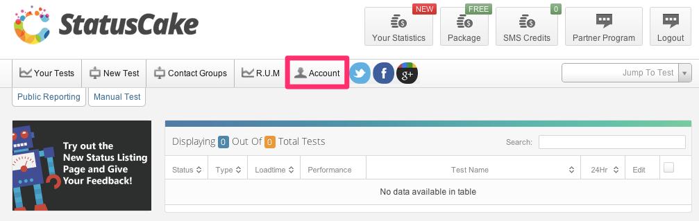 StatusCake Account Settings