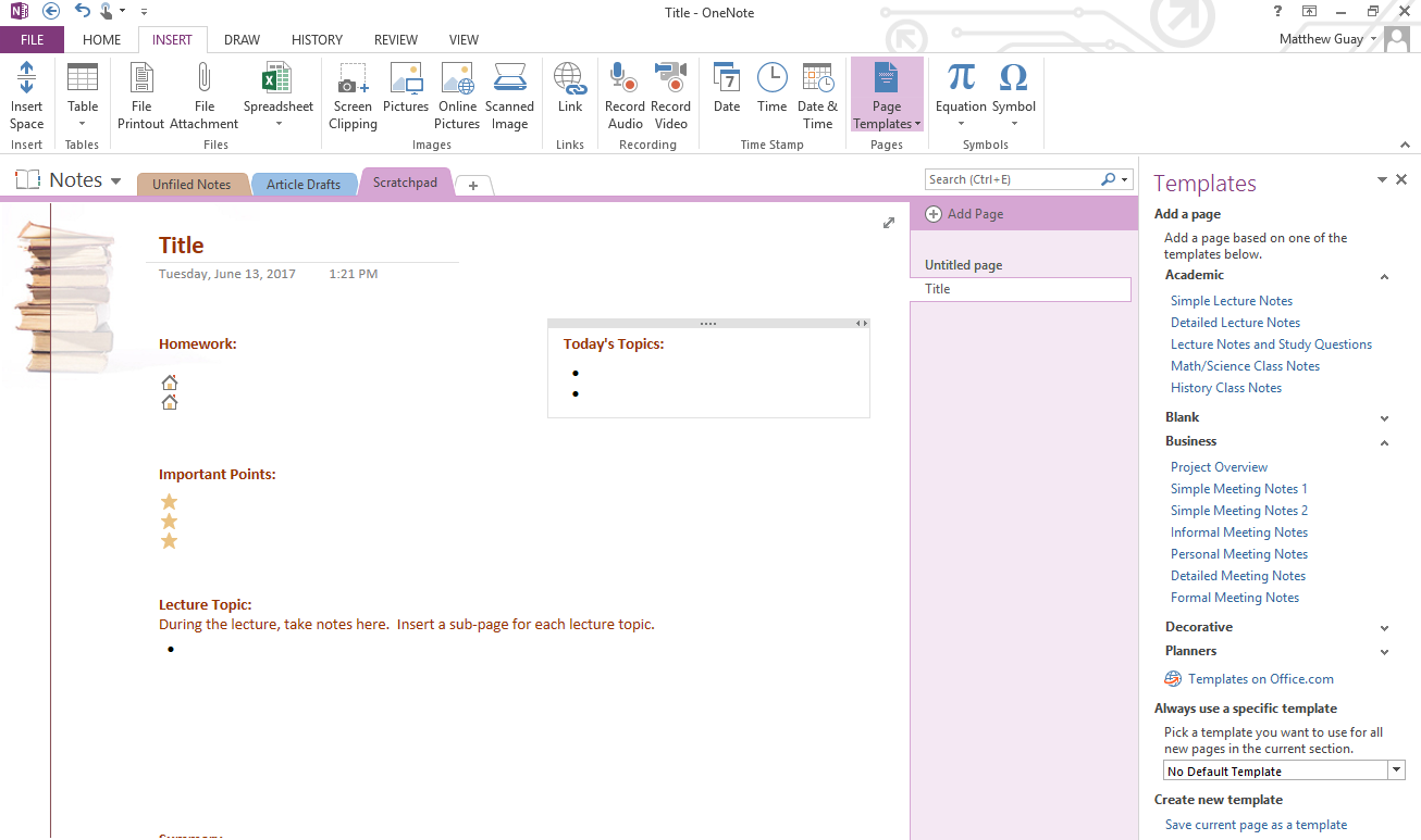 Use onenote templates to streamline meeting class project and add onenote template pronofoot35fo Image collections