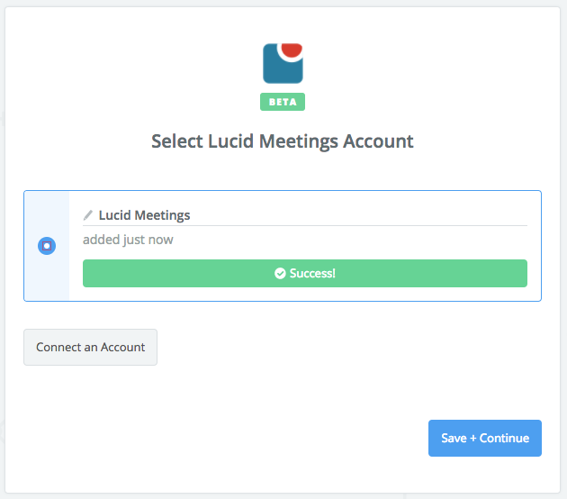 Lucid Meetings connection successful