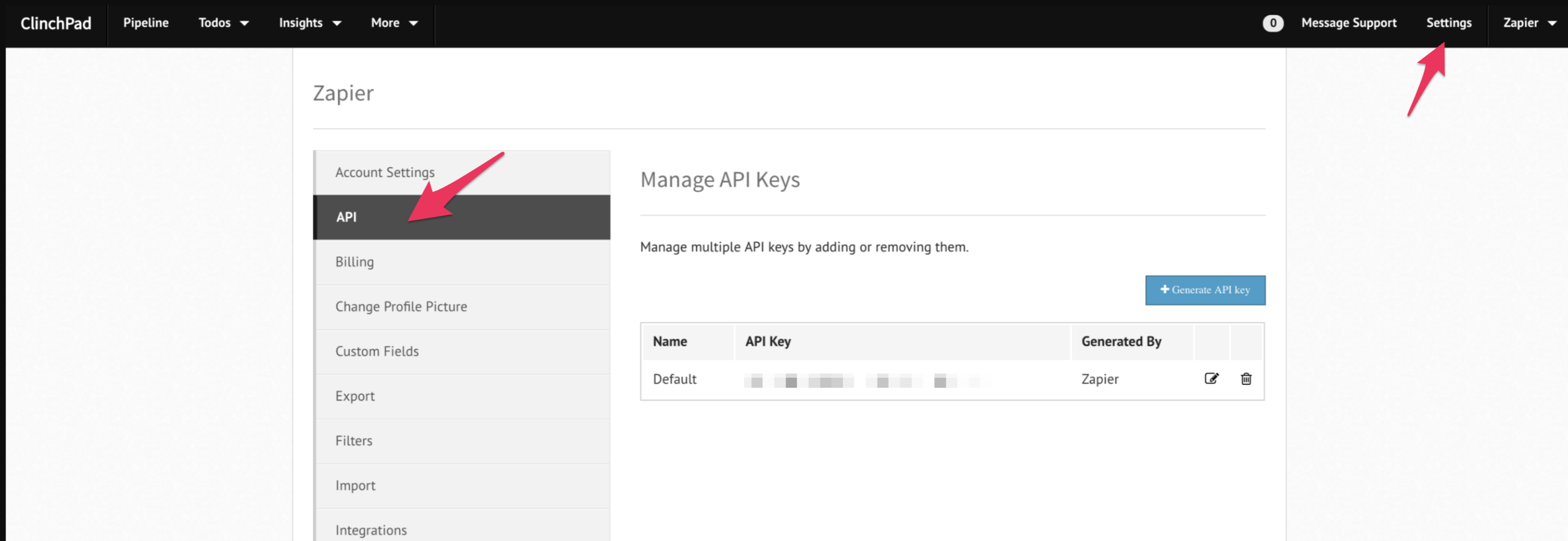 ClinchPad API Key in account