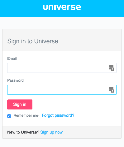 Universe username and password